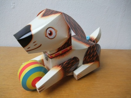 rolling dog, papertoy, papercraft