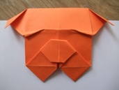 bulldog, origami, bookmark